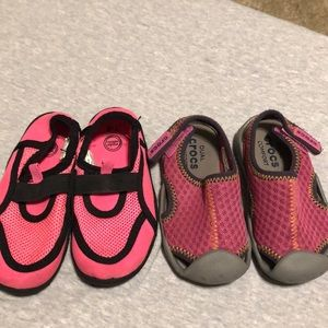 Two pairs size 7 water shoes Crocs/ Wonder Nation